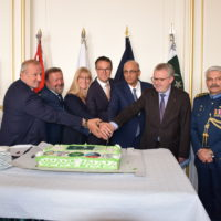 Guests of Honour Senator Pascal Allizard and Mr. Jean-Bernard Sempastous, Presidents of Pak-France Friendship Groups in the French Senate and National Assembly were cutting the cake along with the Ambassador Moin ul Haque and Defence & Air Attaché, Air Commodore Syed Muhammad Azmat Ali on occasion of 53rd Defence day of Pakistan in Paris on 25-09-2019.